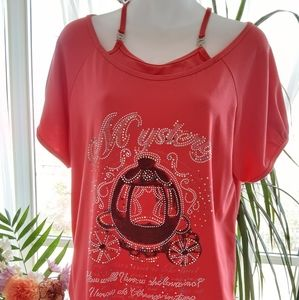 Mystery Pink Tshirt with Buckle Straps